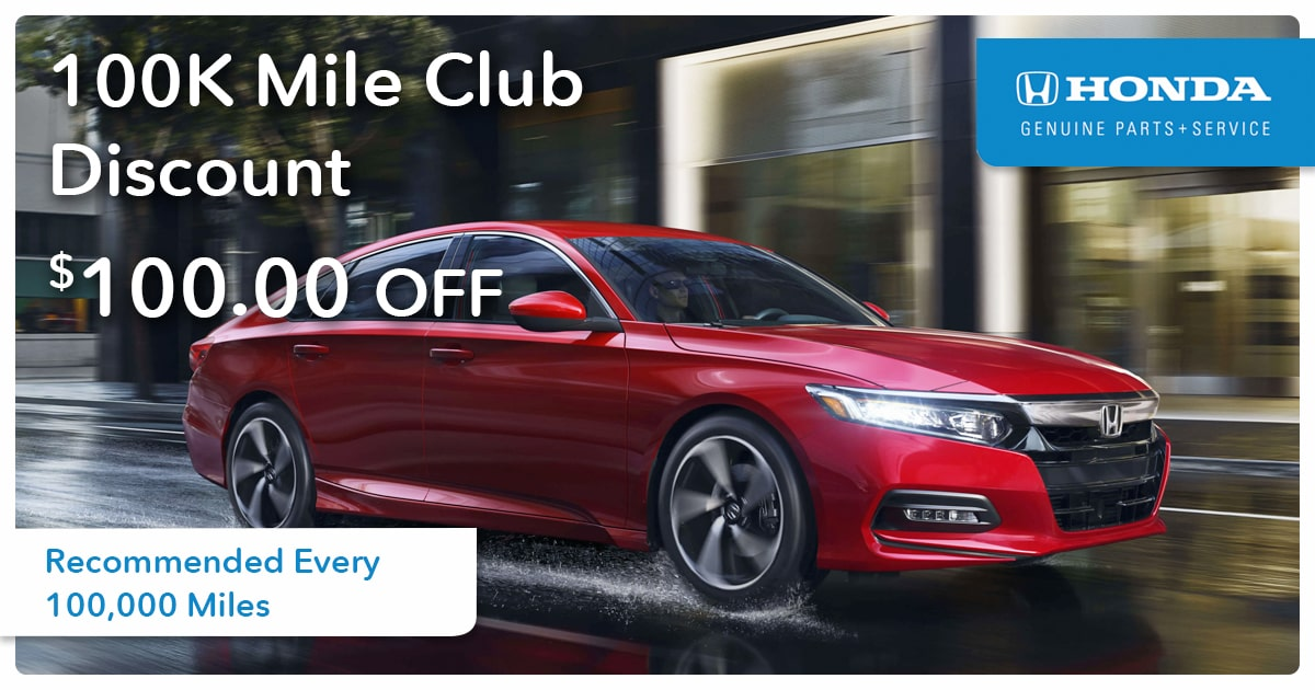 Honda 100K Mile Club Discount Service Special Coupon
