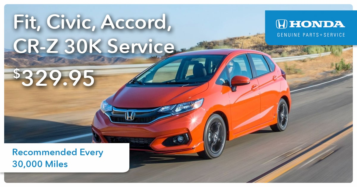 Honda Fit, Civic, Accord, CR-Z 30K Service Special Coupon