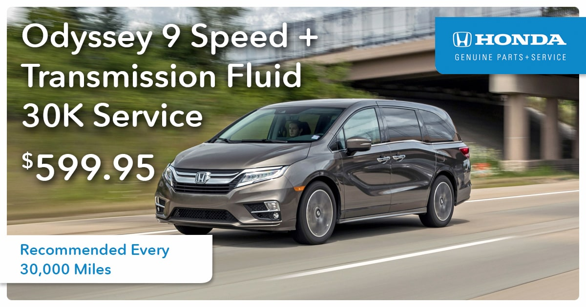 Honda Odyssey 9 Speed + Transmission Fluid 30K Service Special Coupon