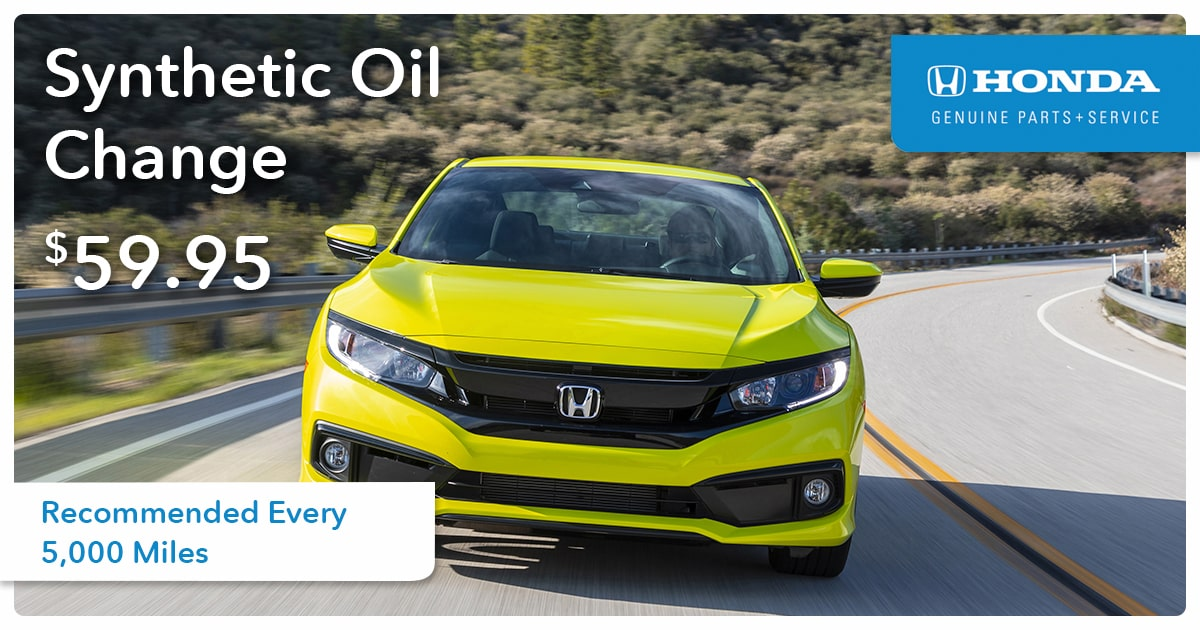 Honda Synthetic Oil Change Service Special Coupon