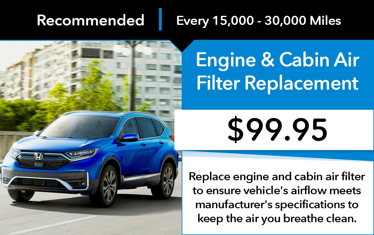 Honda Engine & Cabin Air Filter Replacement Service Special Coupon
