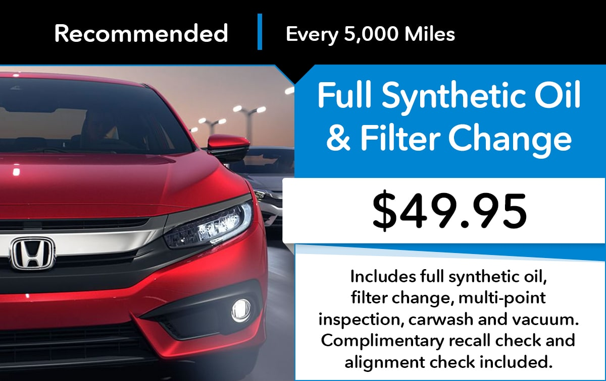 Honda Full Synthetic Oil & Filter Change Service Special Coupon