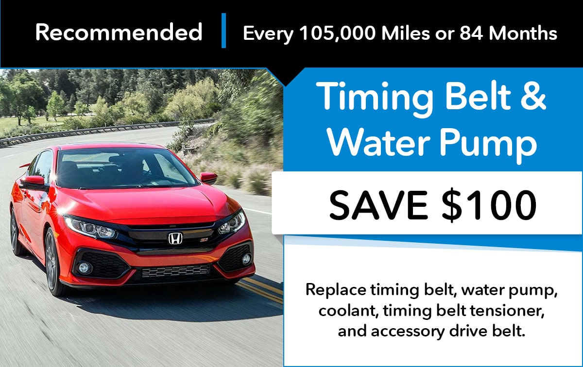 Honda Timing Belt & Water Pump Replacement Service Special Coupon
