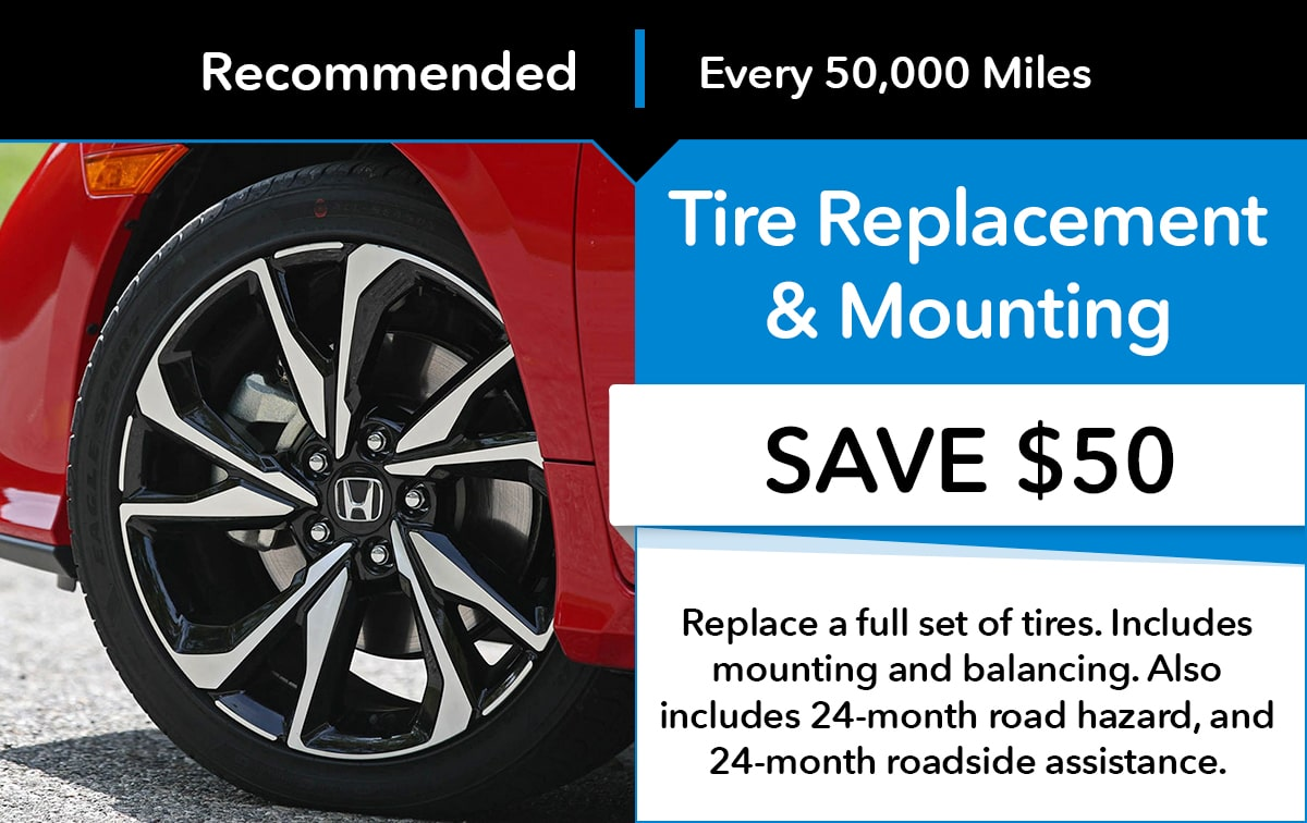 Honda Tire Replacement & Mounting Service Special Coupon