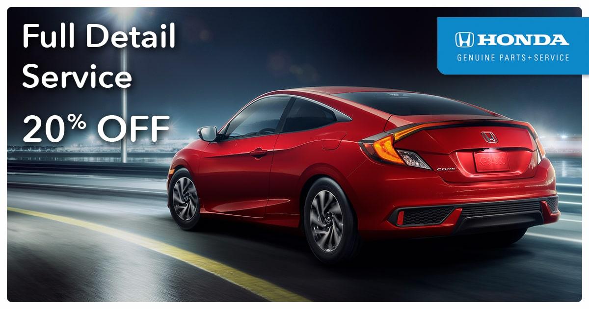 Honda Full Detail Service Special Coupon