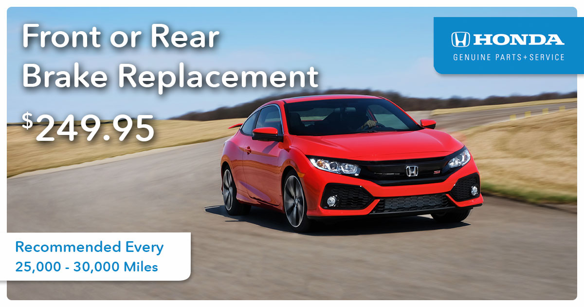 Honda Front or Rear Brake Replacement Service Special Coupon