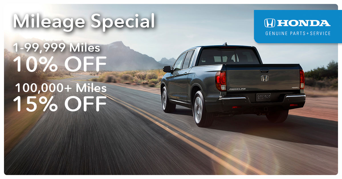 Honda Mileage Service Special Coupon