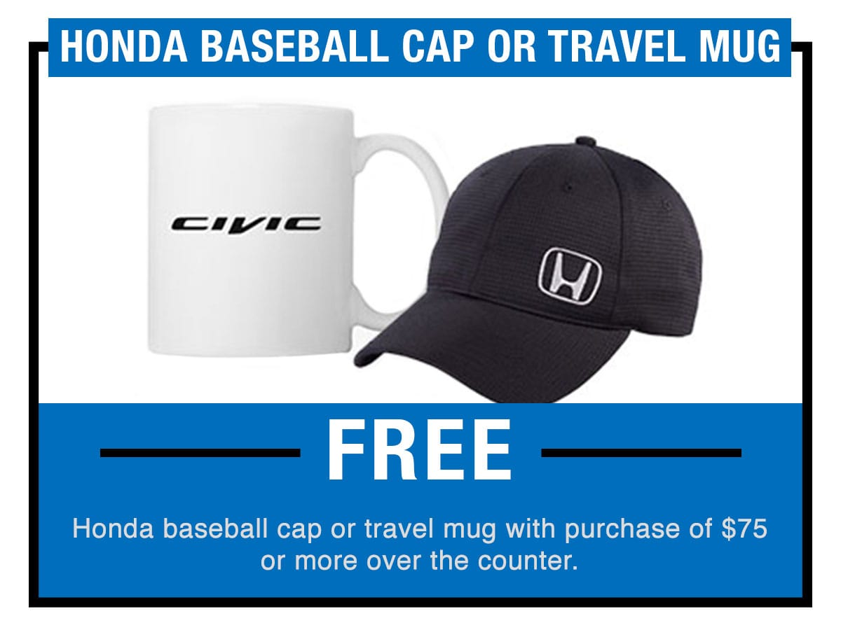 Honda Baseball Cap or Travel Mug Service Special Coupon