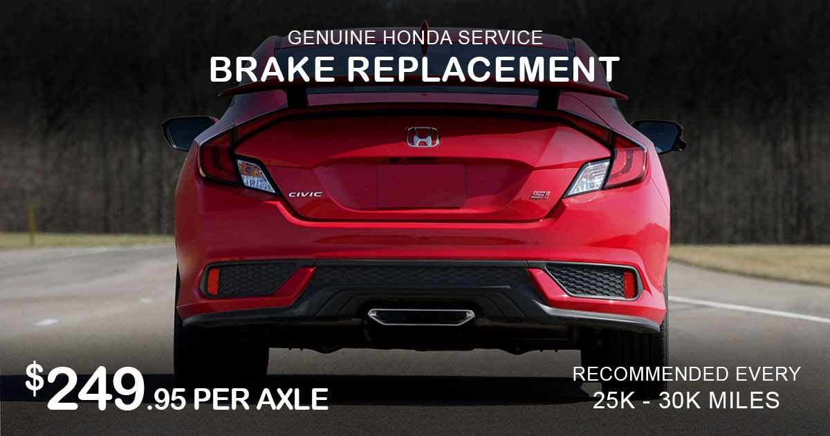 Rapids Honda Brake Replacement Service Special Coupon