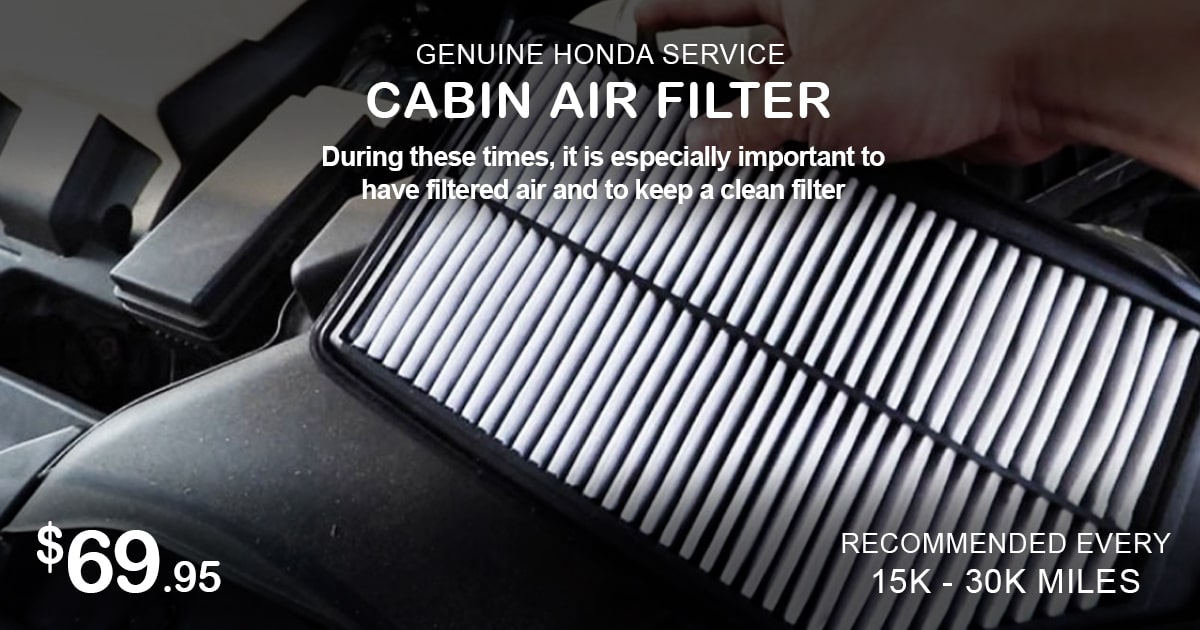 Honda Cabin Air Filter Service Special Coupon