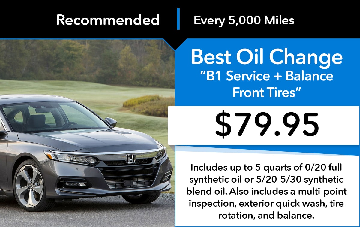 Honda Best Oil Change B2 Service Special Coupon