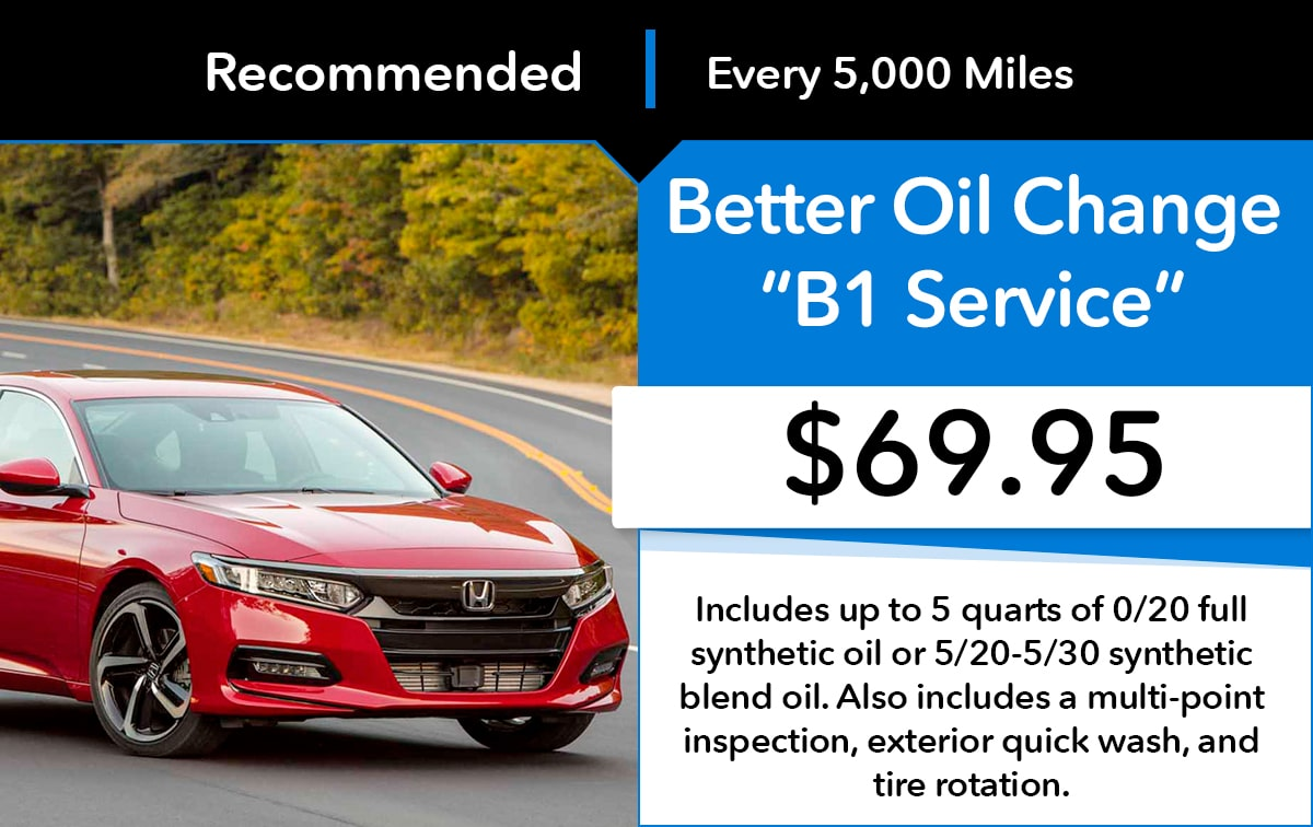 Honda Better Oil Change B1 Service Special Coupon