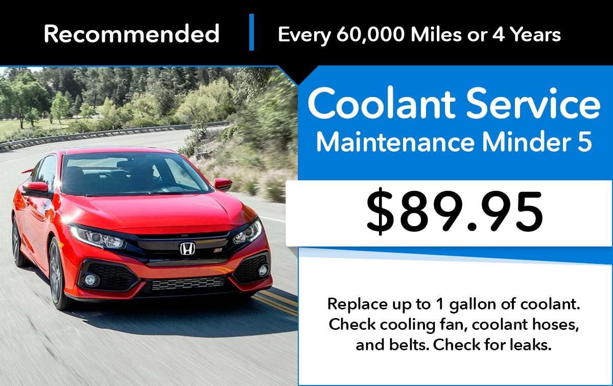 Honda Maintenance Minder 5 Service Special Coupon