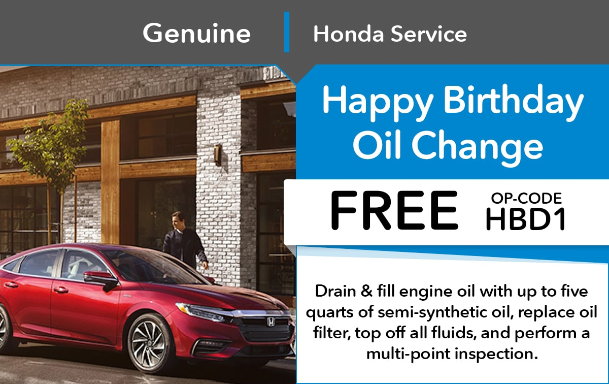 Honda Happy Birthday Oil Change Service Special Coupon