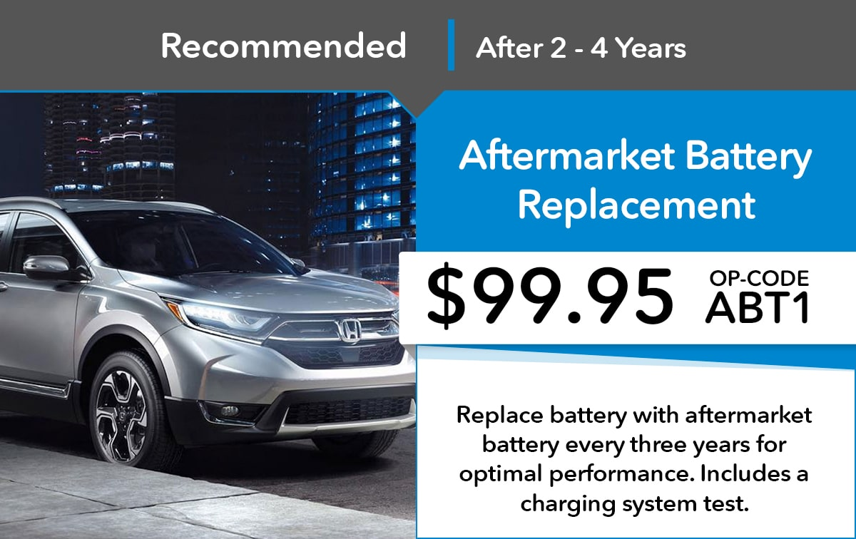 Honda Aftermarket Battery Replacement Service Special Coupon