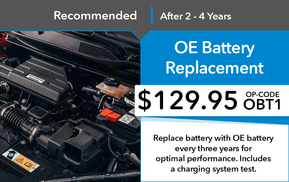 Honda OE Battery Replacement Service Special Coupon