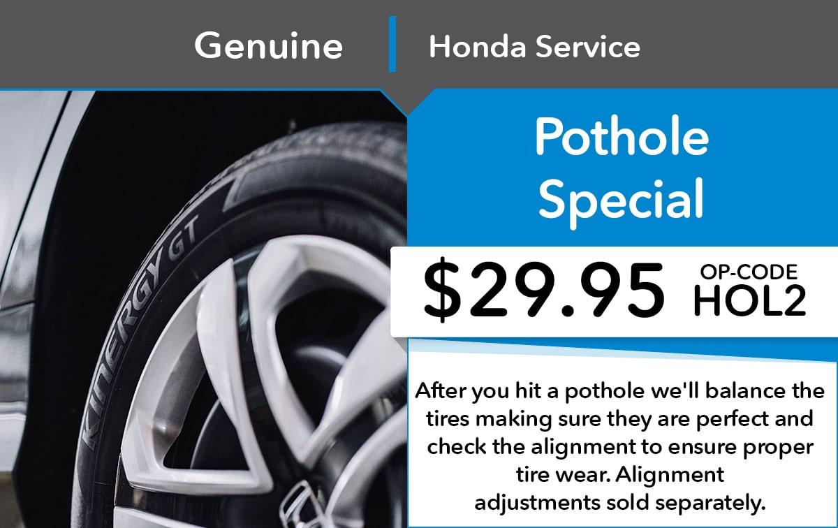 Honda Pothole Service Special Coupon