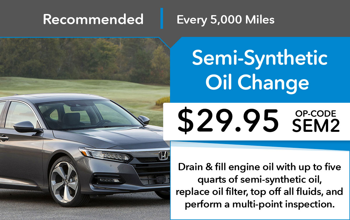 Honda Semi-Synthetic Oil Change Service Special Coupon