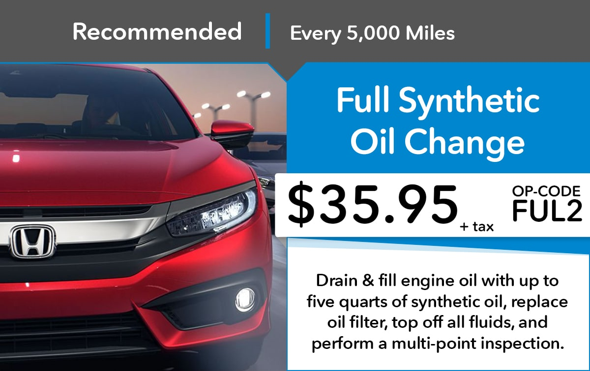 Honda Full Synthetic Oil Change Service Special Coupon