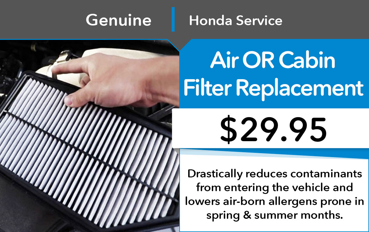 Honda Filter Repalacement Service Special Coupon