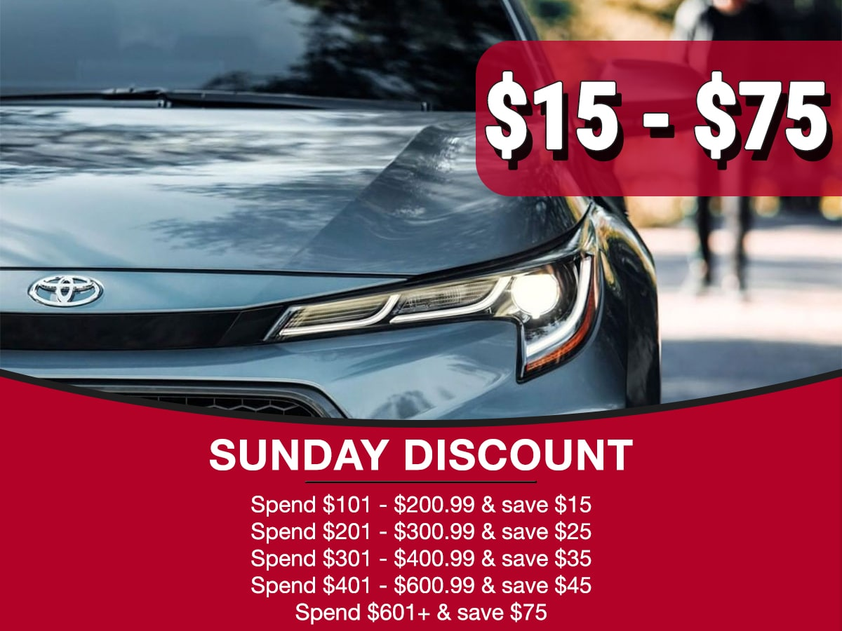 Sunday Discount Service Special Coupon