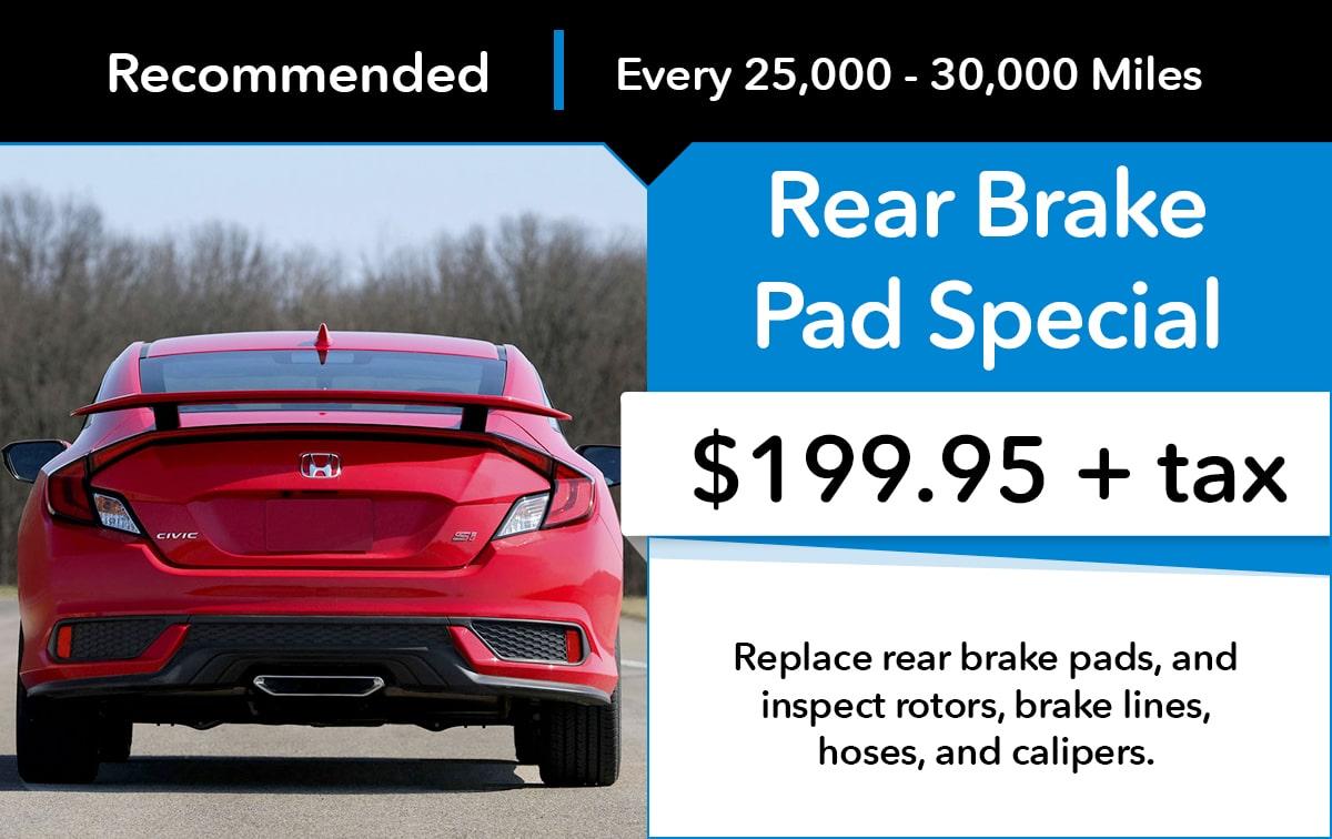 Honda Rear Brake Pad Service Special Coupon
