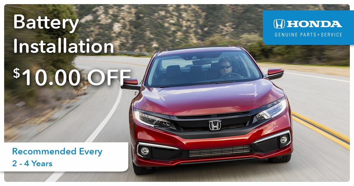 Honda Battery Installation Service Special Coupon