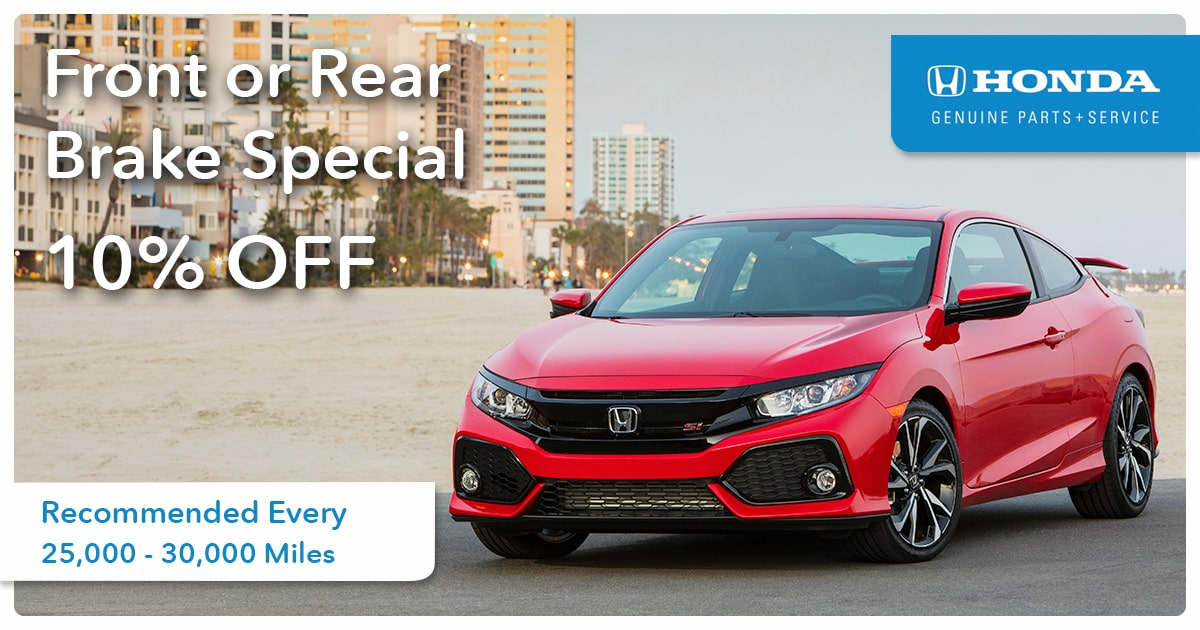 Honda Front or Rear Brake Service Special Coupon