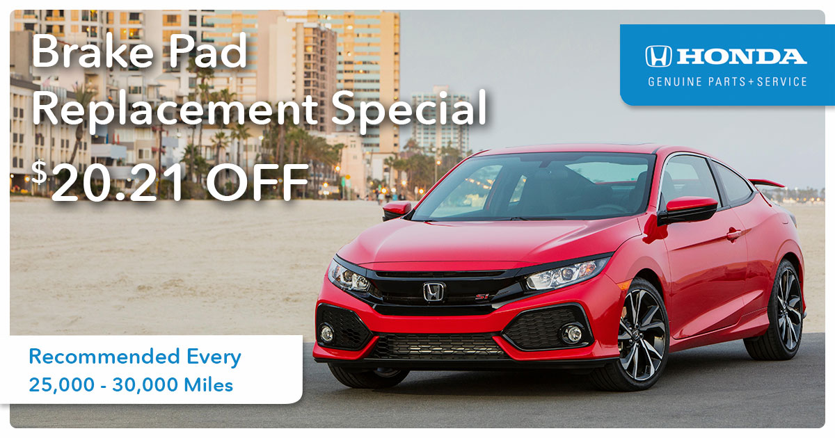 Honda Brake Pad Replacement Service Special Coupon