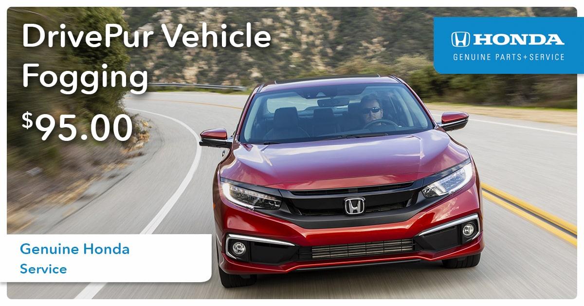Honda DrivePur Vehicle Fogging Service Special Coupon