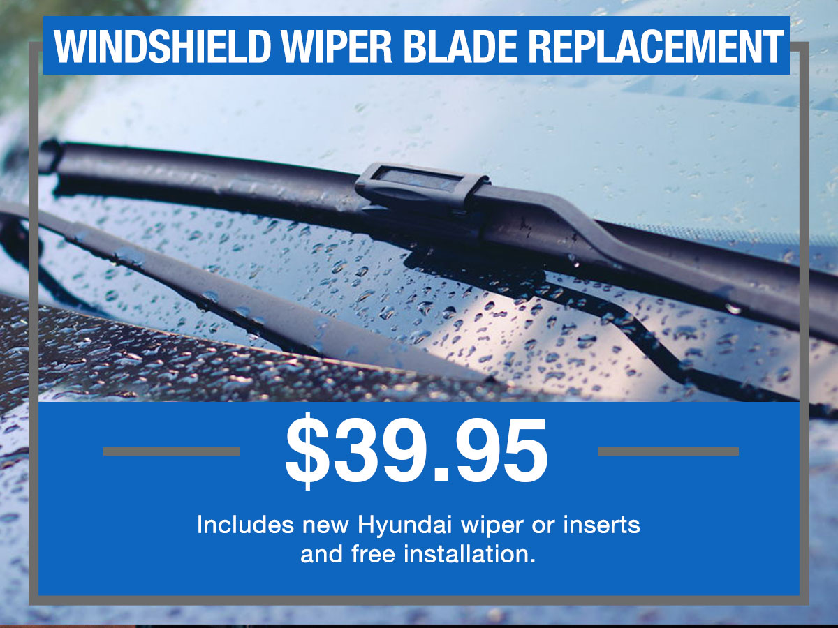 Windshield Wiper Blade Replacement Service Special Coupon Hiley Hyundai of Burleson