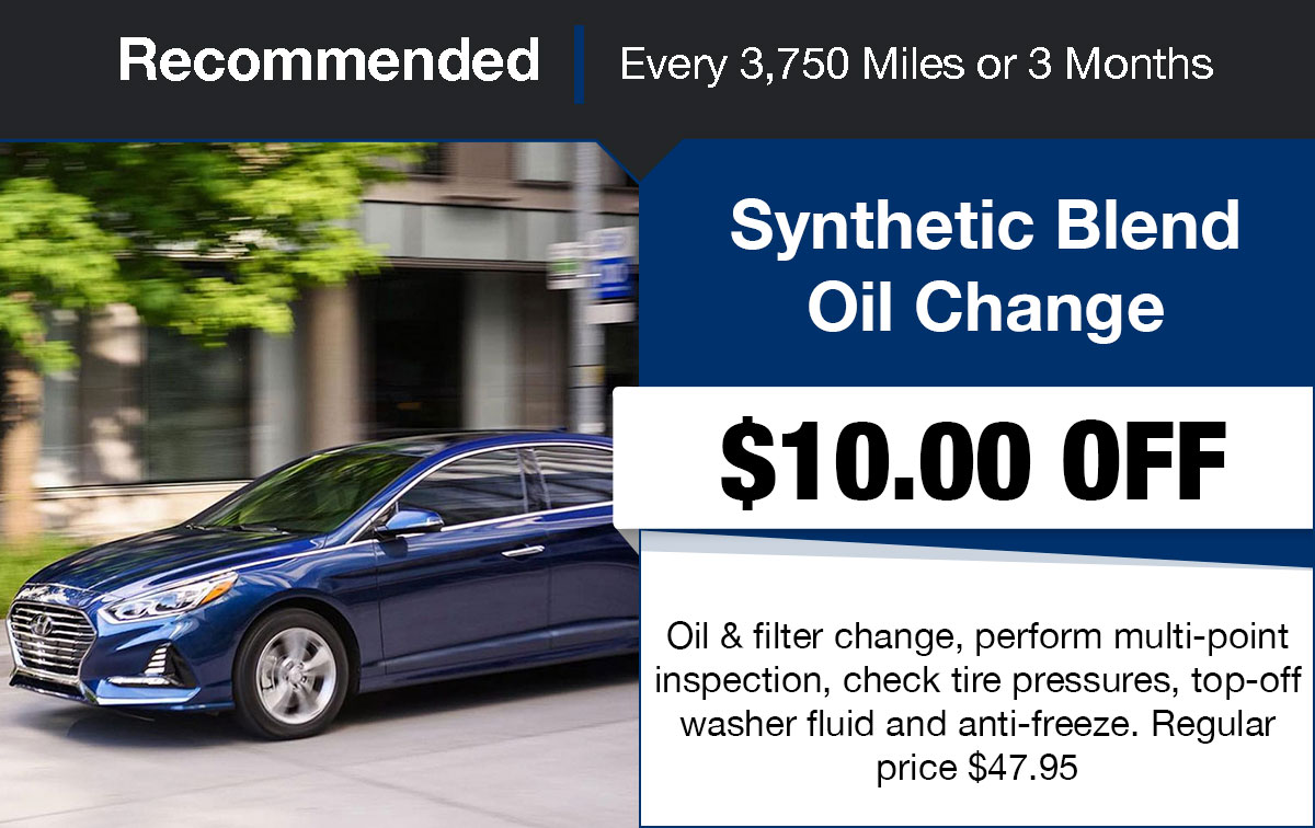 Hyundai Synthetic Blend Oil Change Service Special Coupon