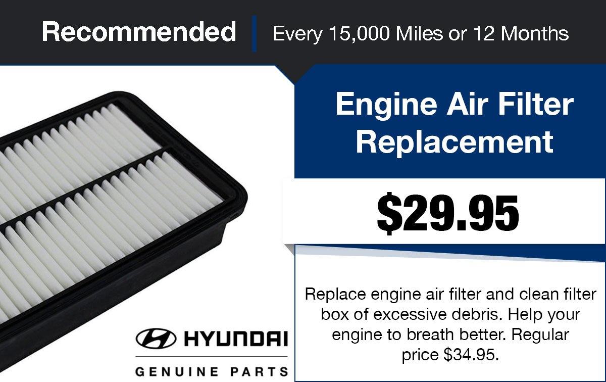 Hyundai Engine Air Filter Replacement Service Special Coupon