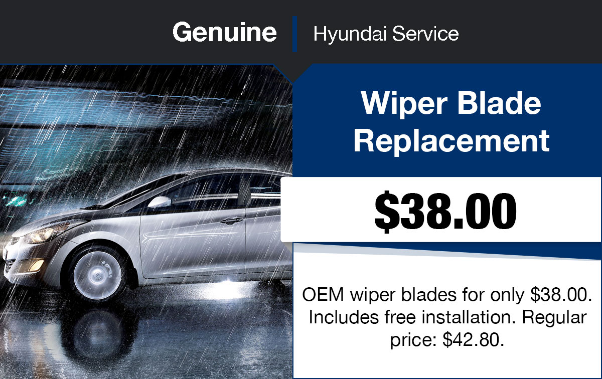 Hyundai Windshield Wiper Blade Replacement Service Special Coupon