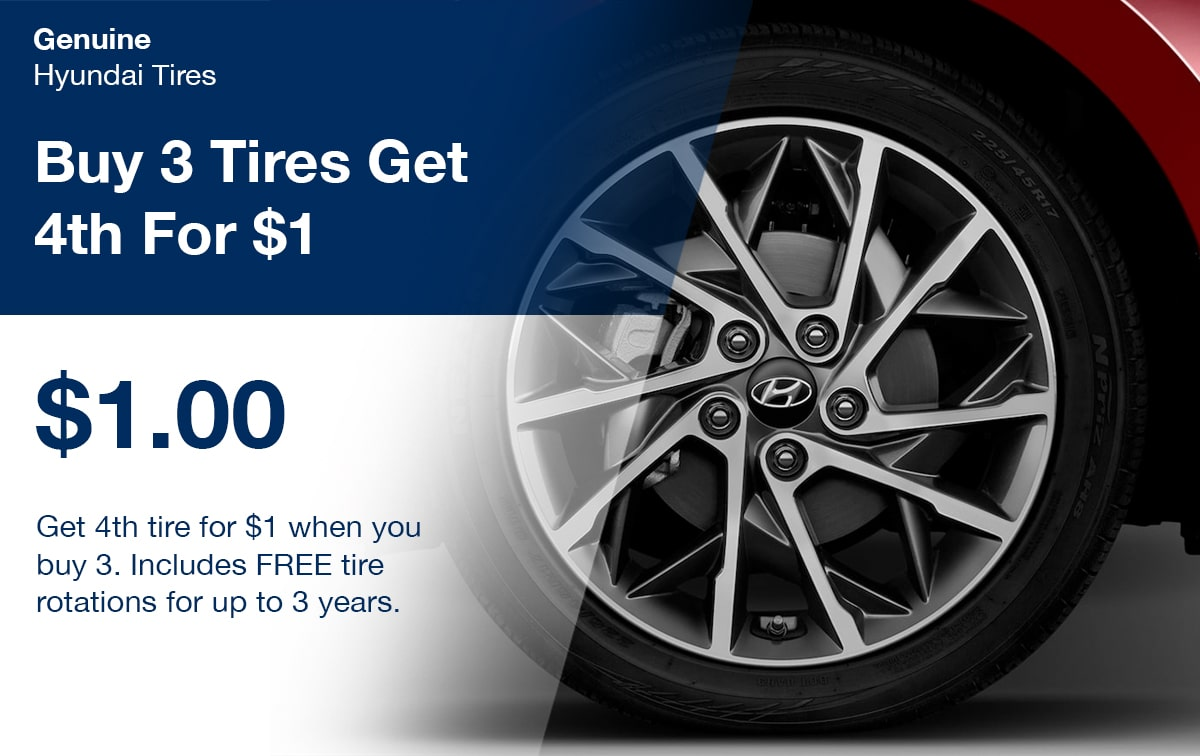 Hyundai Buy 3 Tires Get 4th For $1 Special Coupon