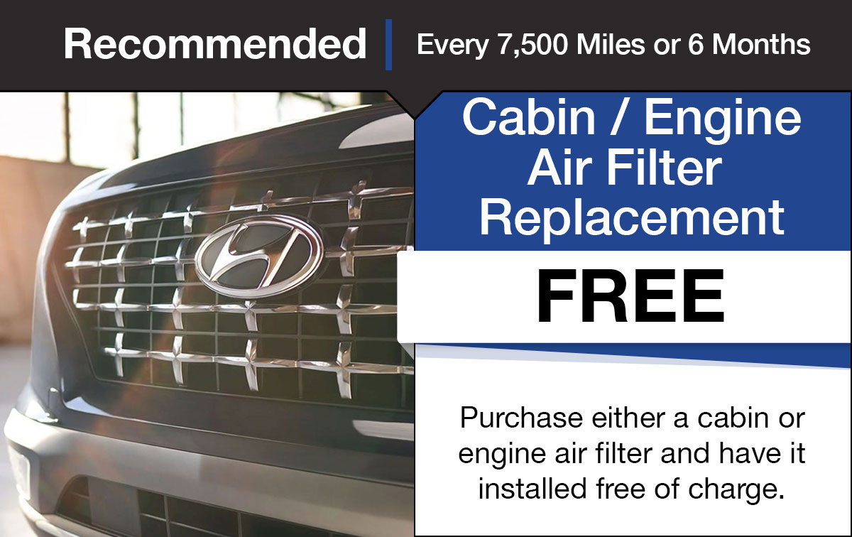 Hyundai Engine and Cabin Air Filter Replacement Service Special Coupon