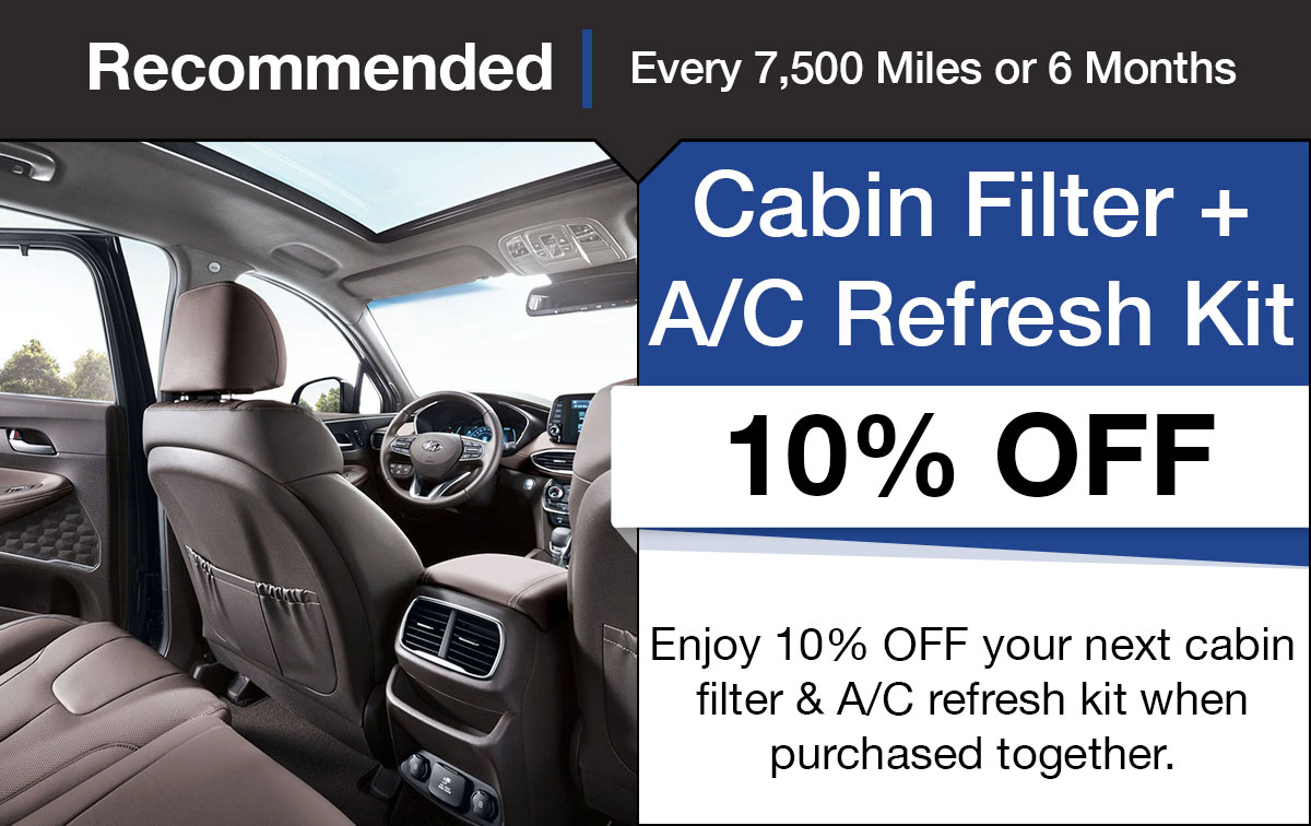 Hyundai Cabin Air Filter & AC Refresh Service Special Coupon