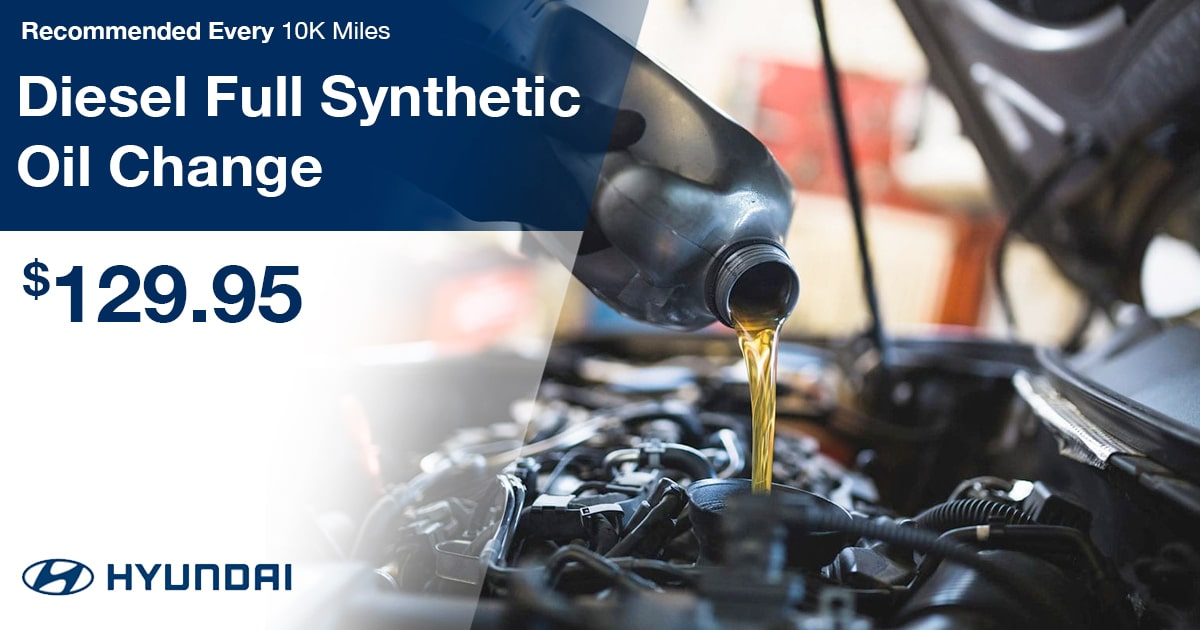 Hyundai Diesel Full Synthetic Oil Change Service Special Coupon