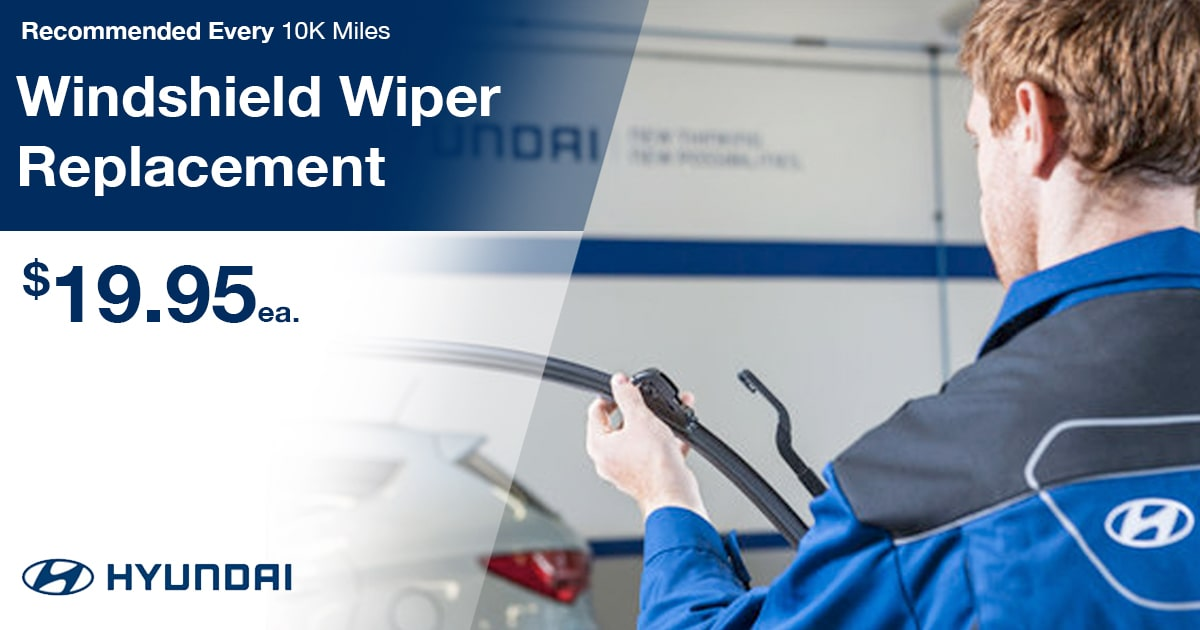 Hyundai Windshield Wiper Replacement Service Special Coupon