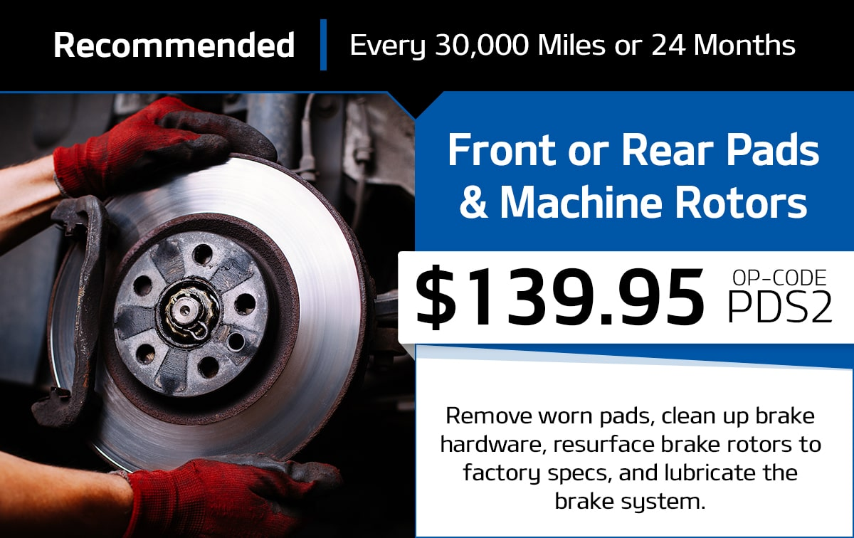 Front/Rear Pads and Machine Rotors Service Special Coupon