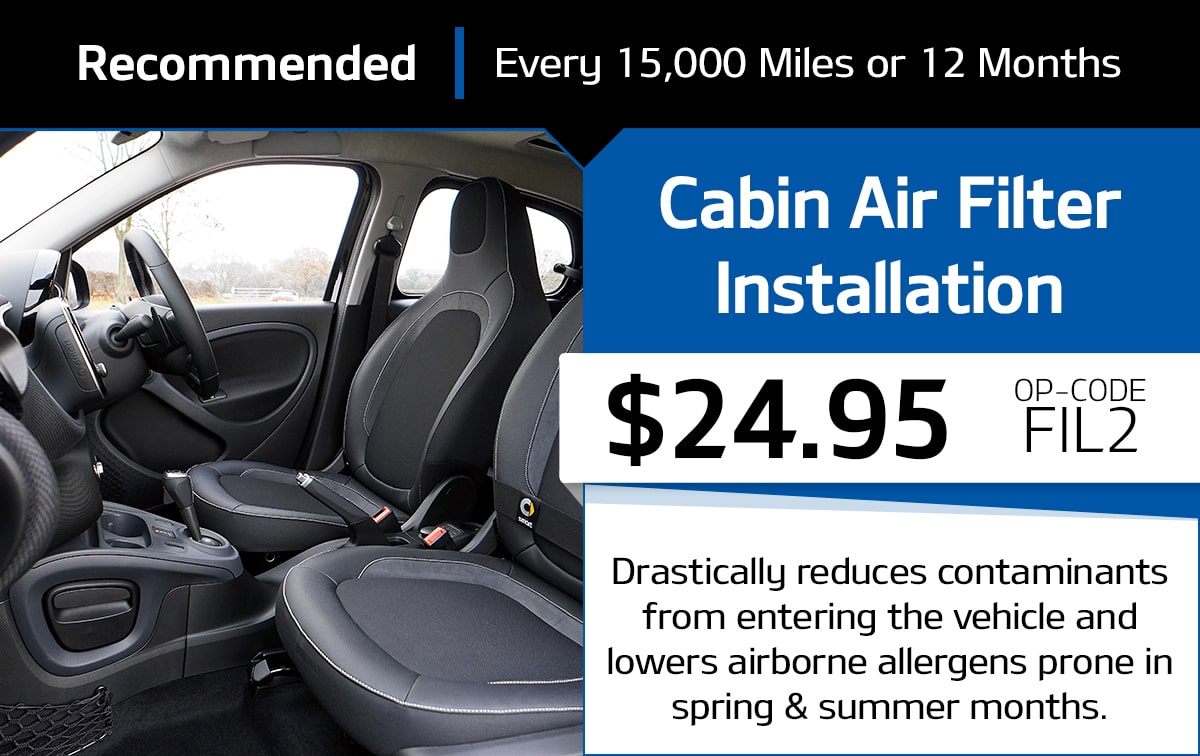 Cabin Air Filter Installation Service Special Coupon