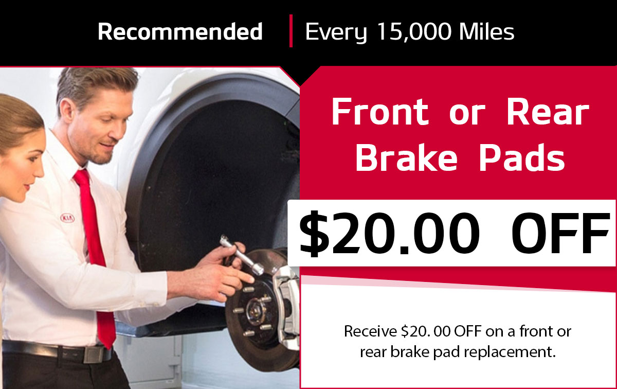 KIA Front or Rear Brake Pad Service Special Coupon