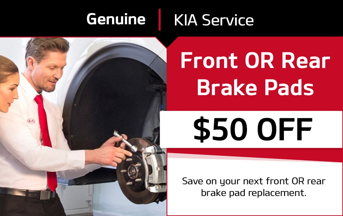 Kia Front OR Rear Brake Pads Service Special Coupon