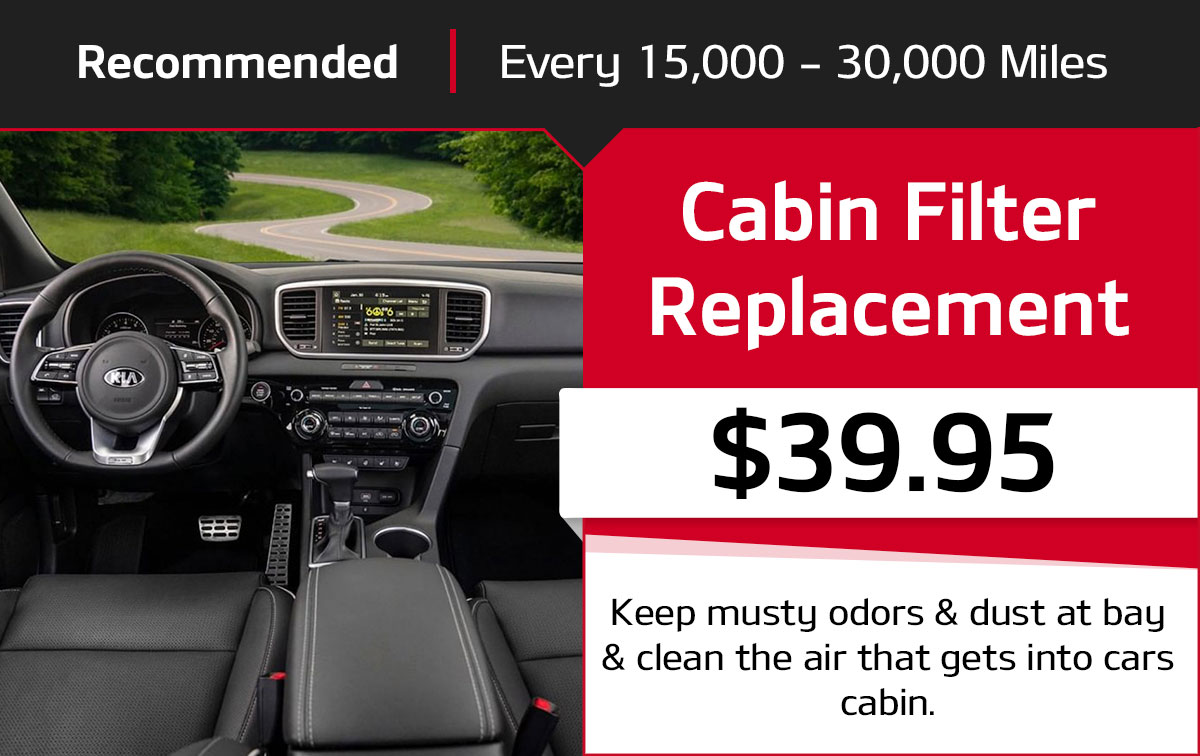 Kia Cabin Filter Replacement Service Special Coupon