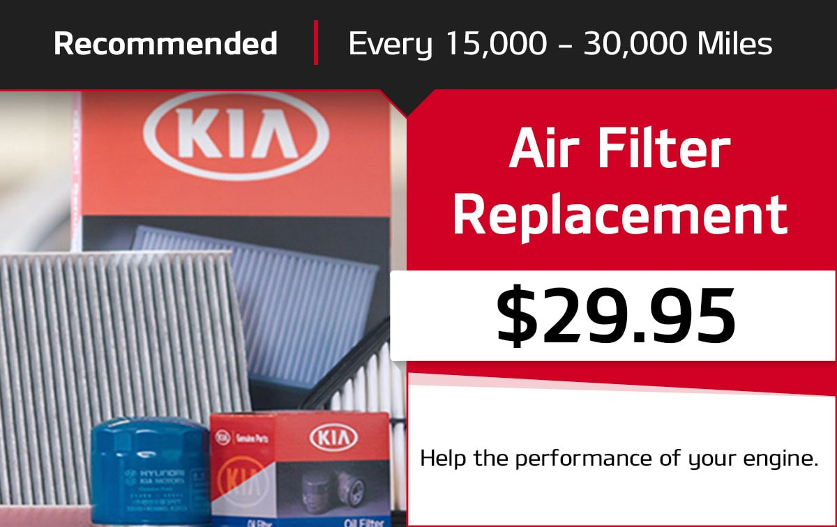 Kia Air Filter Replacement Service Special Coupon