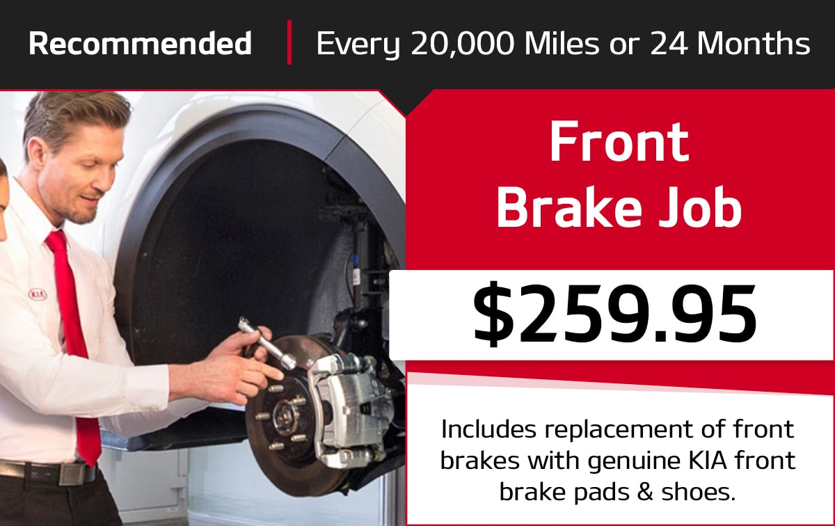 Kia Front Brake Job Service Special Coupon