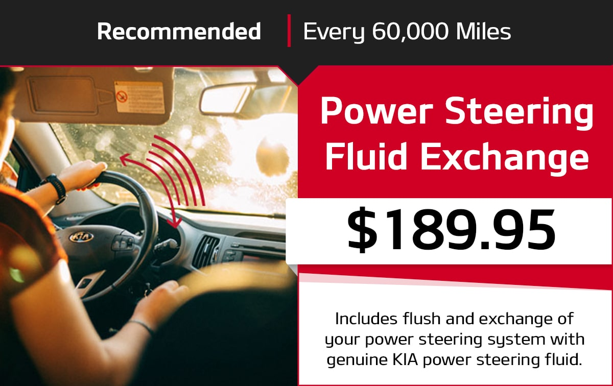 Kia Power Steering Fluid Exchange Service Special Coupon