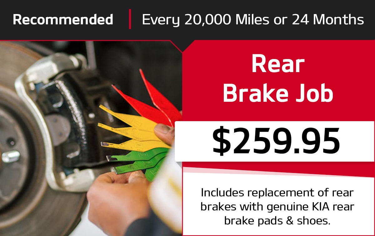 Kia Rear Brake Job Service Special Coupon