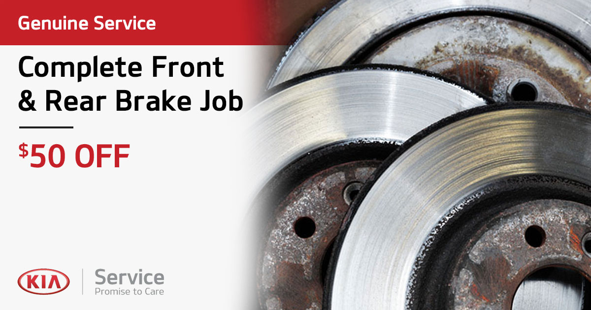 Kia Complete Front & Rear Brake Job Service Special Coupon