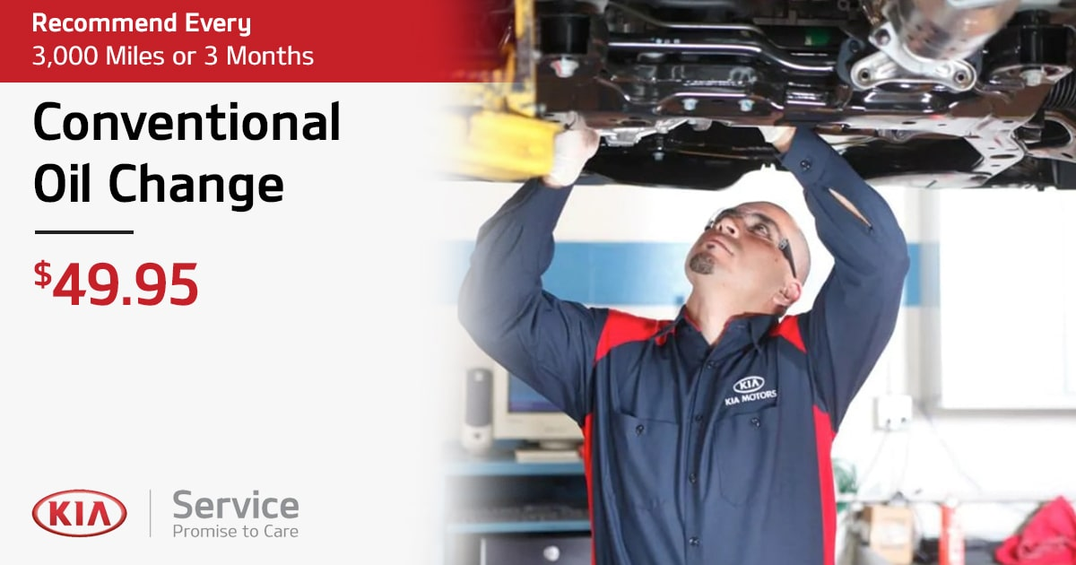 Kia Conventional Oil Change Service Special Coupon